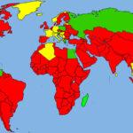 En rojo: no hay prohibiciones formales. Uso extendido de GMOS. En amarillo: Leyes restringiendo los GMOS en la mayoría de las áreas. En verde: Prohibición nacional o zona totalmente libre de gmos.